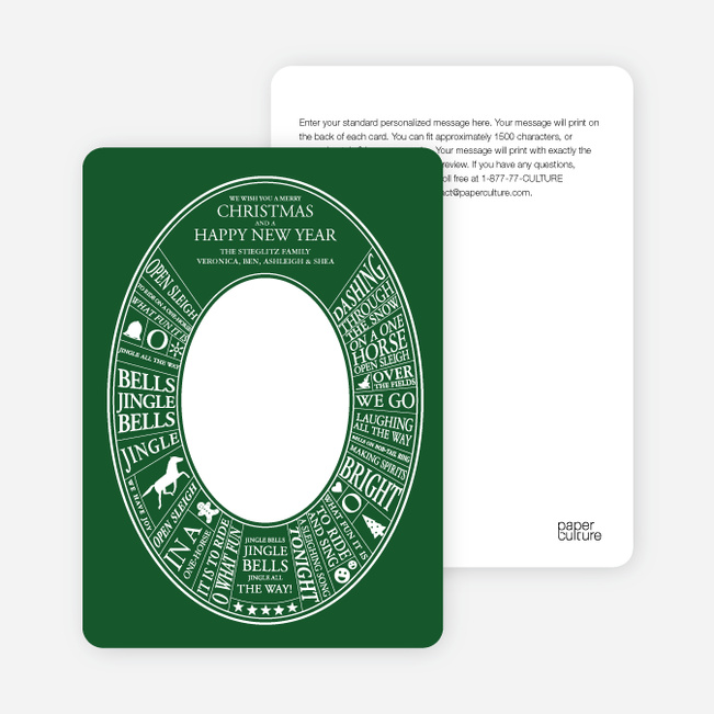 Jingle Bells Song Christmas Cards - White