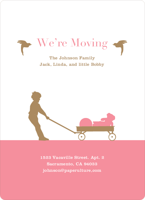 Moving in a Wagon: Fun Moving Announcements - Pink Burst