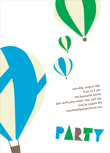 Up Up and Away Summer Party Invitations - Royal Blue