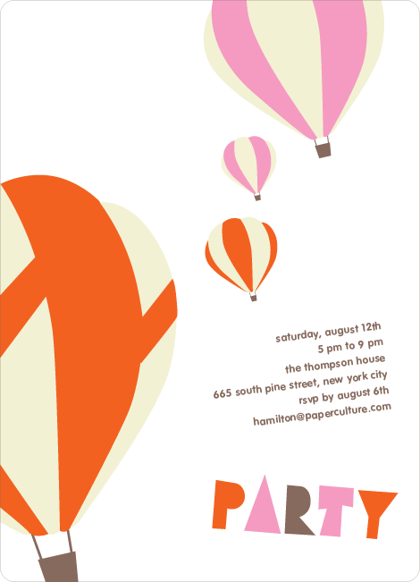 Up Up and Away Summer Party Invitations - Carrot