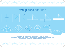 Origami Boat Party Invitations - Baby Blue