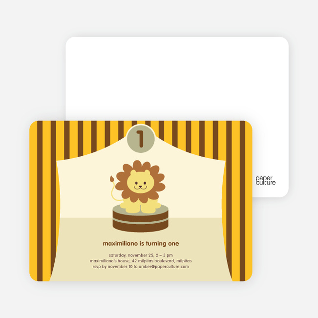 King of the Big Top Tent, Lion Birthday Party Invitations - Lemon Bar