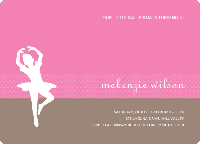 Ballerina Modern Birthday Party Invitation - Sherbert Orange