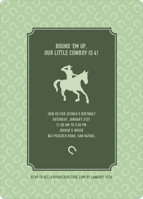 Cowboy Birthday Invitation - Hunter Green