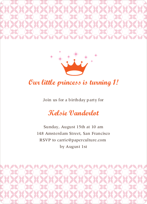 Princess Birthday Invitation - Carnation