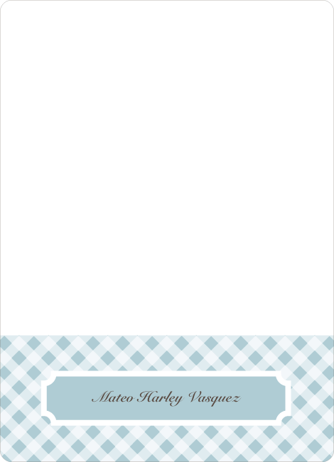 Notecards for the 'Gingham Announcement' cards. - Powder Blue