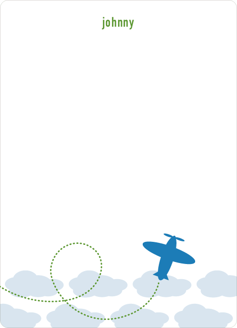Stationery: 'Modern Airplane' cards. - Royal Blue