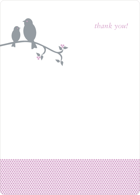 Thank You Card for Classic Bird Baby Shower Invitation - Lilac