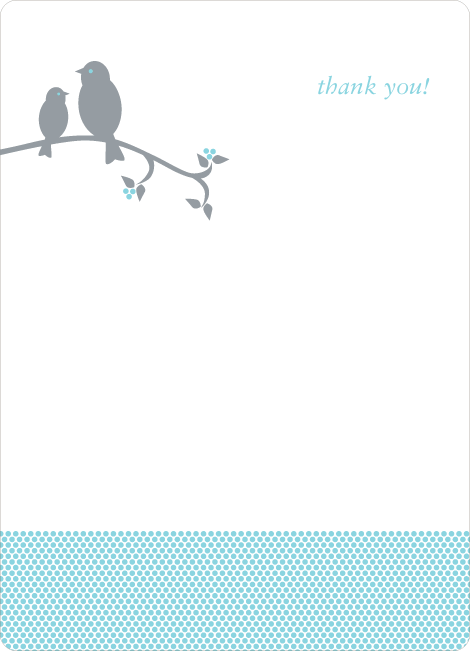 Thank You Card for Classic Bird Baby Shower Invitation - Light Turquoise