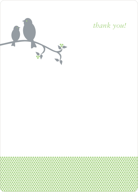 Thank You Card for Classic Bird Baby Shower Invitation - Honeydew