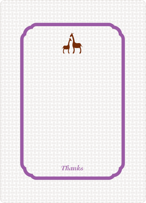 Thank You Card for Classic Giraffe Baby Shower Invitation - Violet
