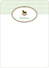 Thank You Card for Classic Rocking Horse Baby Shower Invitation - Emerald Green