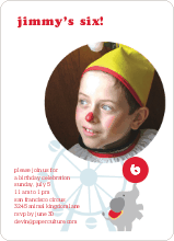 Elephants and the Circus Kids Birthday Party Invitations - Clown Nose