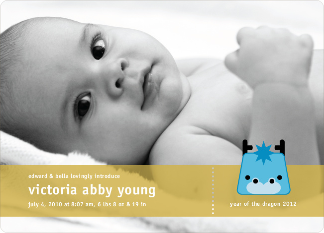 Year of the Dragon Birth Announcements - Cornflower Blue