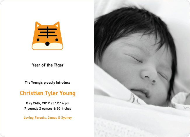 Tony the Tiger Photo Baby Announcements - Cantaloupe