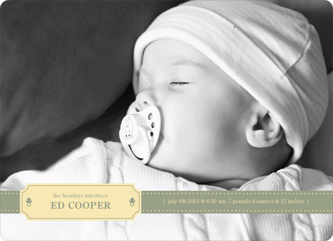 Binky Pacifier Baby Announcements - Celadon
