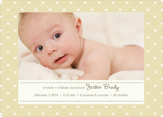 Quilted Love Birth Announcements - Wheat