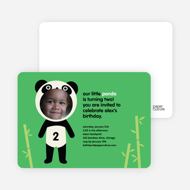 Kung Fu and Bamboo Panda Photo Birthday Invitation - Emerald Green