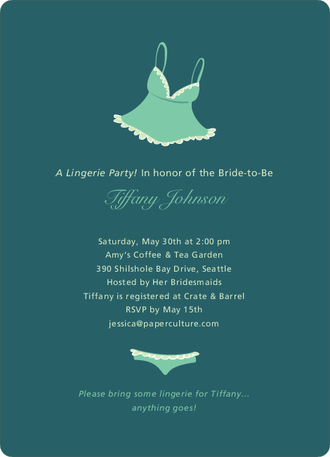 Ooh La La Bridal Shower Invitations - Teal Tease