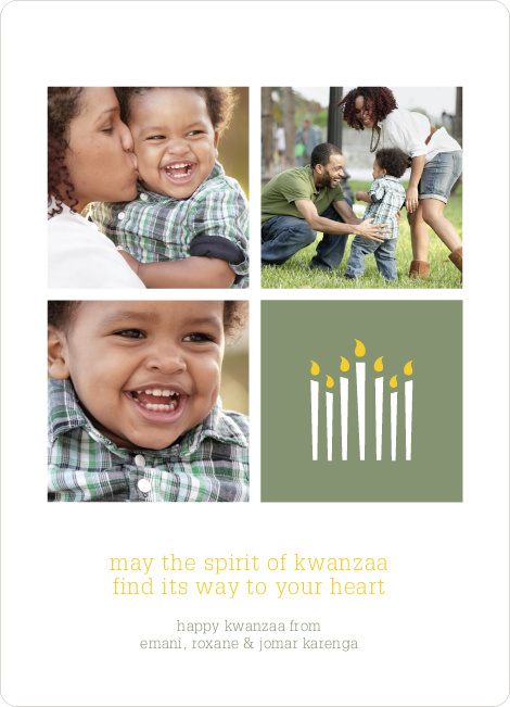 Kwanzaa Candles Photo Cards - Celadon