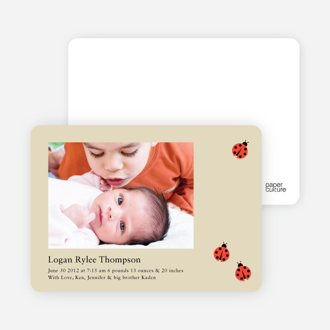 Ladybug Ladybug Photo Birth Announcements - Latte