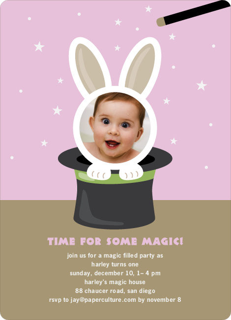Rabbit in a Hat Birthday Invites - Strawberry Frosting