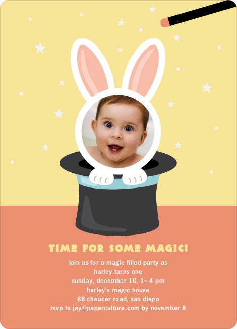 Rabbit in a Hat Birthday Invites - Squash