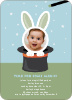 Rabbit in a Hat Birthday Invites - Blue Rain