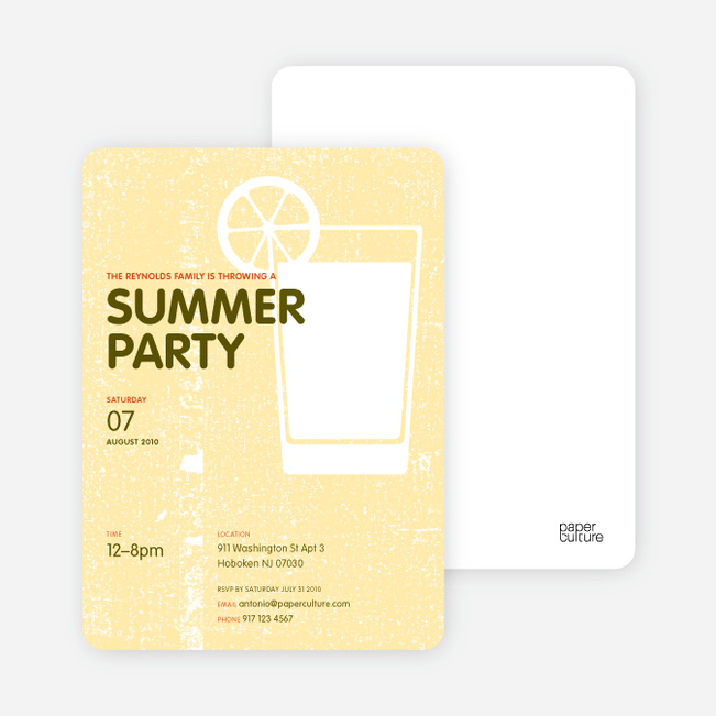 Lemonade Summer Party Invitations - Lemon