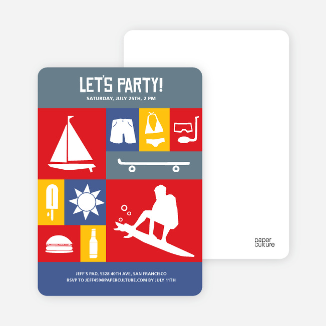 Let's Get this Party Started Invitations - Fire Engine Red
