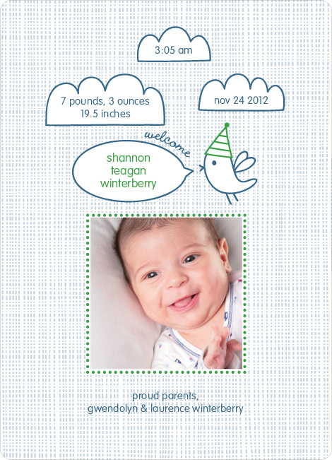 Twitter Tweet Birth Announcements - Garden Green