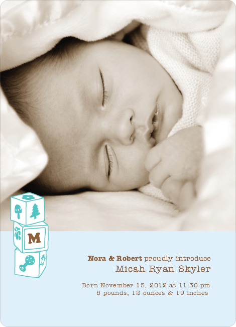Alphabet Blocks Photo Birth Announcements - Blueberry Mint
