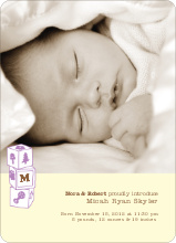 Alphabet Blocks Photo Birth Announcements - Little Lemon