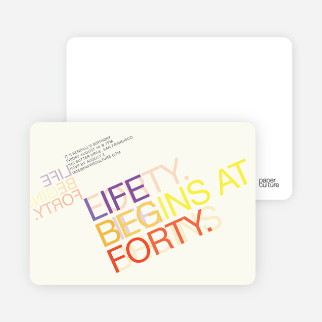 Life Begins at Forty: 40th Birthday Invitations - Multi