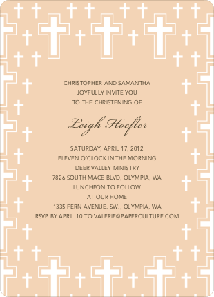Light of the Cross Baptism and Christening Invitations - Grayish Pink