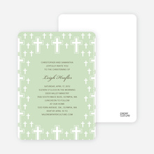 Light of the Cross Baptism and Christening Invitations - Pale Green