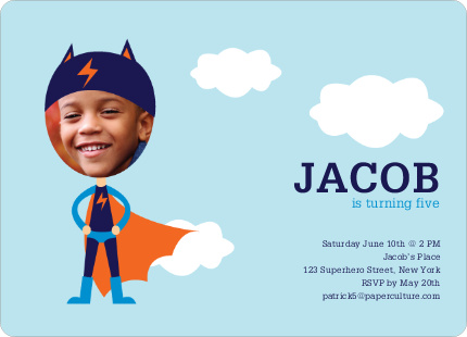 Lightning Man Super Hero Birthday Party Invitations - Super Blue