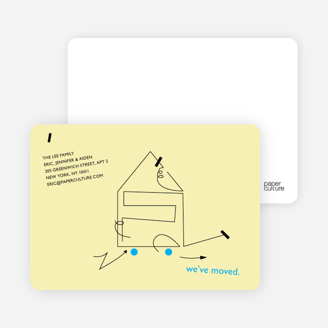 Line Art Moving Card - Pale Yellow