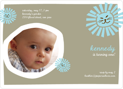 Lion King Birthday Invitation - Taupe
