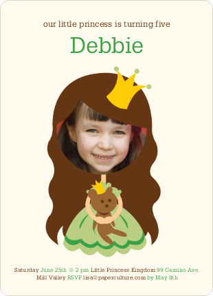 Little Princess Photo Card Birthday Invitations - Wheat Grass