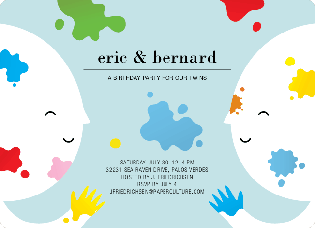 Color Me Birthday Kids Birthday Invitations - Blue Paint