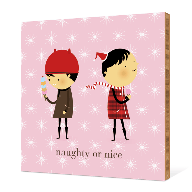 Naughty or Nice Bamboo Wall Décor - Cotton Candy