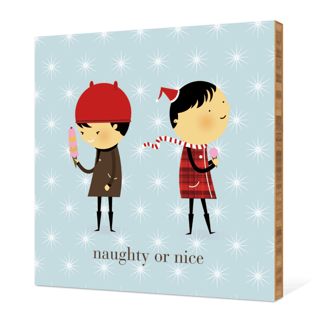 Naughty or Nice Bamboo Wall Décor - Glacier