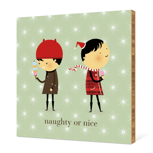 Naughty or Nice Bamboo Wall Décor - Pistachio