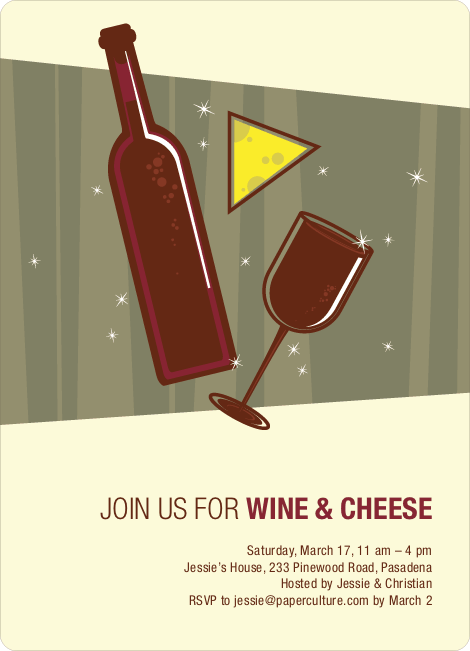 Wine and Cheese Party Invitations - Burgundy