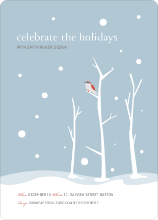 Lone Sparrow Holiday Invitations - Mystic Blue