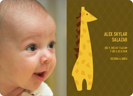 Long Neck or No Neck Baby Announcement - Dark Olive