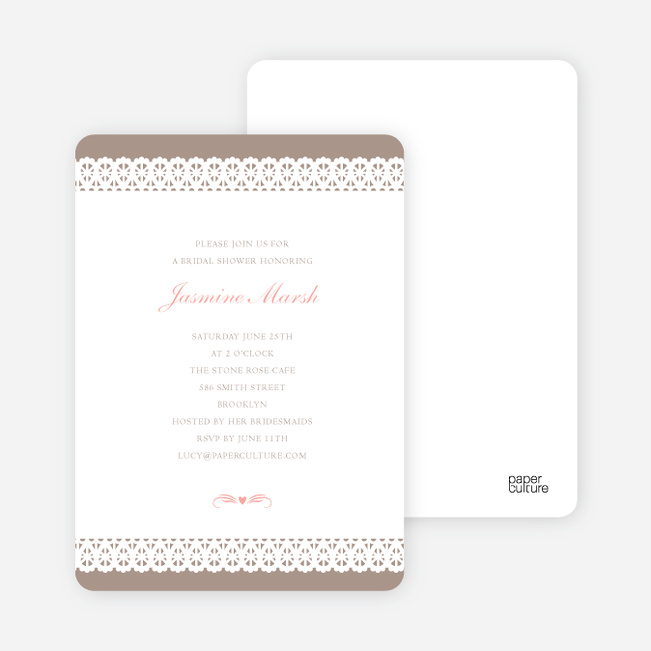 Lovely Lace Bridal Shower Invitations - Mrs. Mocha