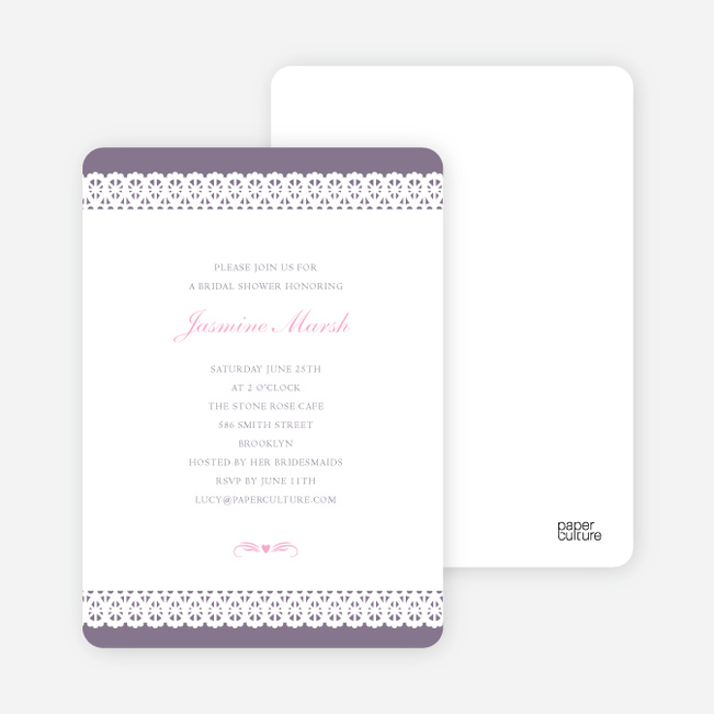 Lovely Lace Bridal Shower Invitations - Purple Tulip