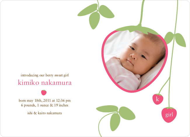 Strawberry Modern Baby Announcement - Hot Pink